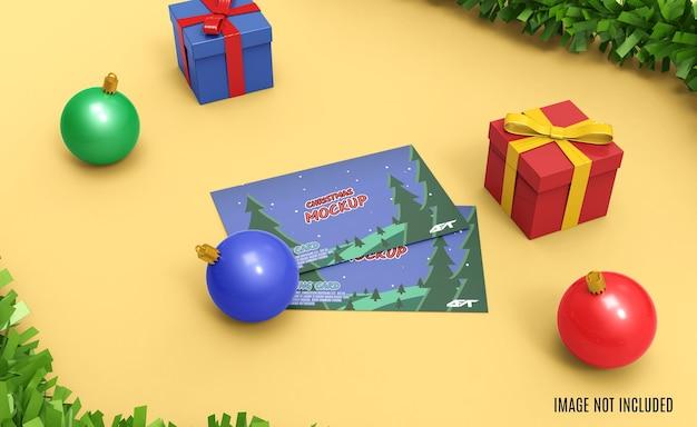 Boże narodzenie pozdrowienie makieta renderowania 3d