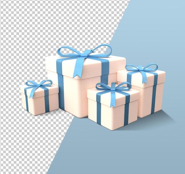 Boże narodzenie pudełko kreskówka renderowania 3d na białym tle