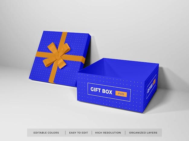 Boże narodzenie pudełko z makieta wstążki na białym tle