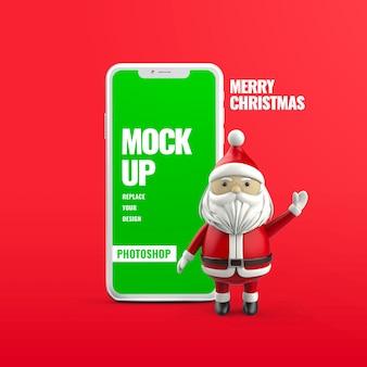 Boże narodzenie reklama smartfona na białym tle