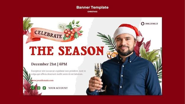 Boże narodzenie sezon mężczyzna z szablon transparent santa hat