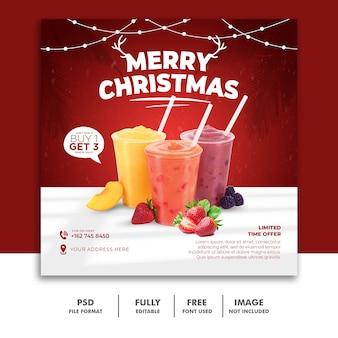 Boże narodzenie szablon postu w mediach społecznościowych dla menu drinka