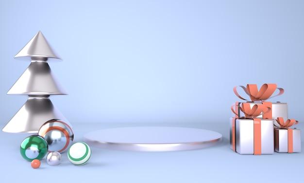 Boże narodzenie tło z choinką i etapem wyświetlania produktów w renderowaniu 3d