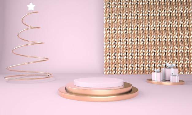 Boże narodzenie tło z choinką i etapem wyświetlania produktu w renderowaniu 3d