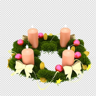 Boże narodzenie wieniec ze świecami w renderowaniu 3d na białym tle