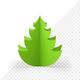 Boże narodzenie zielony świerk wycięte z papieru renderowania 3d. realistyczna dekoracja o minimalistycznym designie. craft ozdobne gałązki piramidy sylwestrowej. modny obiekt do projektowania obchodów ferii zimowych.