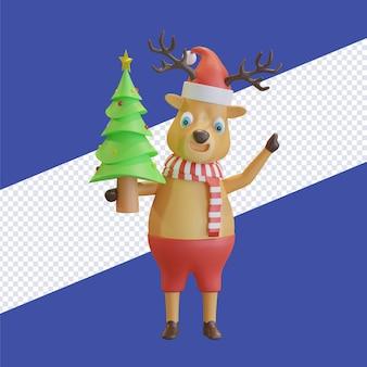 Bożenarodzeniowy jeleń w kapeluszu świętego mikołaja z czerwonym szalikiem trzymającym choinkę 3d render ilustracji