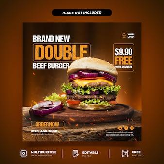 Brand new burger set szablon mediów społecznościowych
