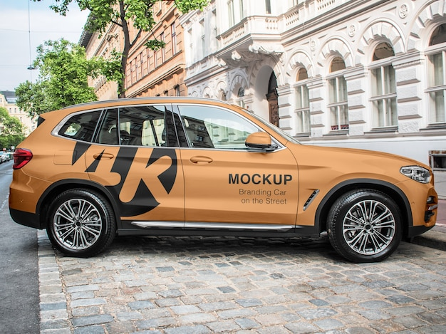 Branding car on the street mockup