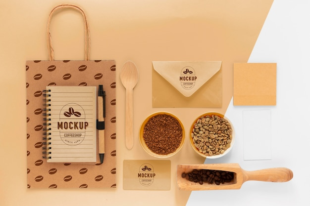 Branding kawowy z układem płaskich elementów