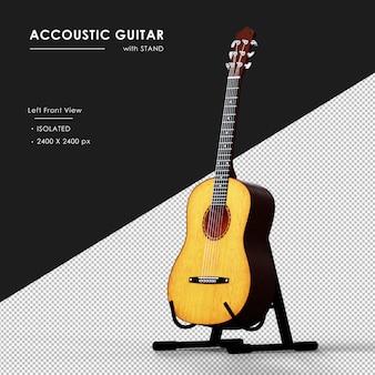 Brązowa gitara akustyczna ze stojakiem od lewej widok z przodu