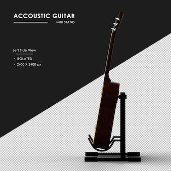 Brązowa gitara akustyczna ze stojakiem z lewej strony widoku