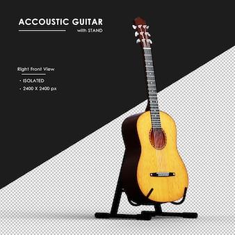 Brązowa gitara akustyczna ze stojakiem z prawego widoku z przodu