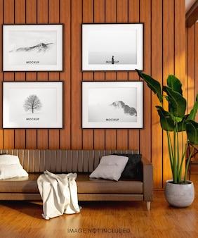 Brązowa sofa z makieta poziomej ramy