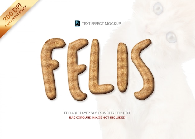 Brązowy kot paski futro zwierząt wzór tekst efekt psd szablon.