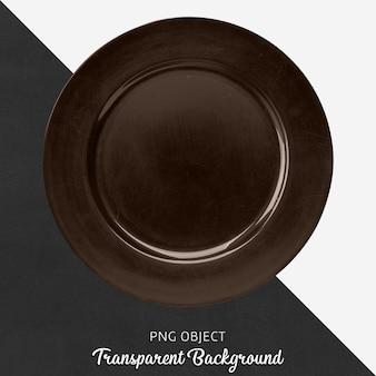 Brązowy okrągły ceramiczny talerz usług na przezroczystym tle