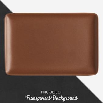 Brązowy prostokąt ceramiczny talerz na przezroczystym tle