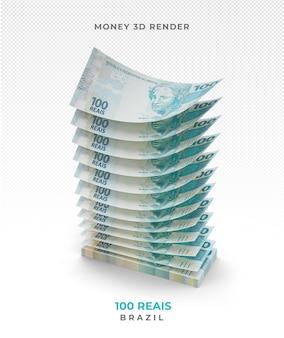 Brazylijski pieniądze 100 reais renderowania 3d