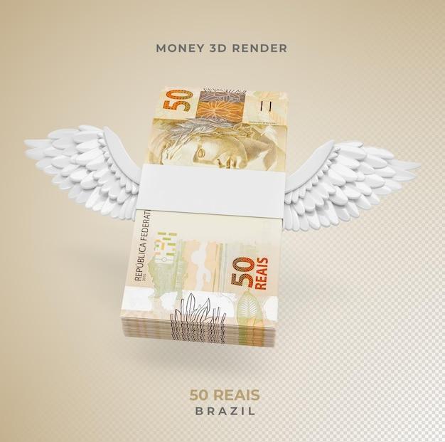 Brazylijskie pieniądze 50 reais ze skrzydłami renderowania 3d