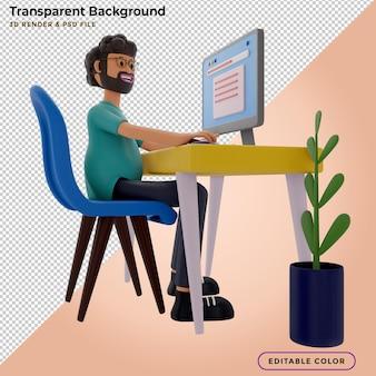 Brodaty facet siedzi przed laptopem, człowiek pracuje na komputerze. freelancer, render 3d, ilustracja 3d