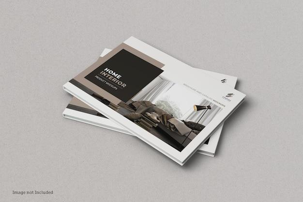 Broszura krajobrazowa i makieta okładki katalogu na białym tle