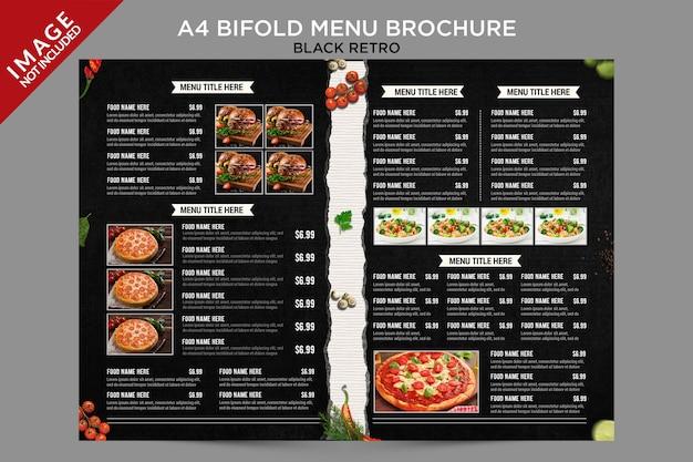 Broszura z czarnym menu w stylu retro bifold wewnątrz serii