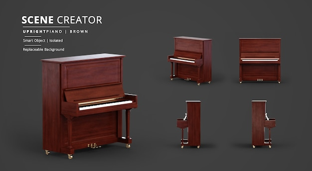 Brown wood upright piano rendering scene creator