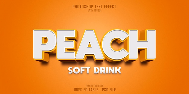 Brzoskwiniowy napój bezalkoholowy 3d szablon efektu stylu tekstu