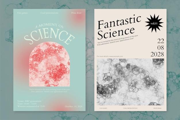 Bubble art science szablon wydarzenie psd estetyczne plakaty reklamowe podwójny zestaw