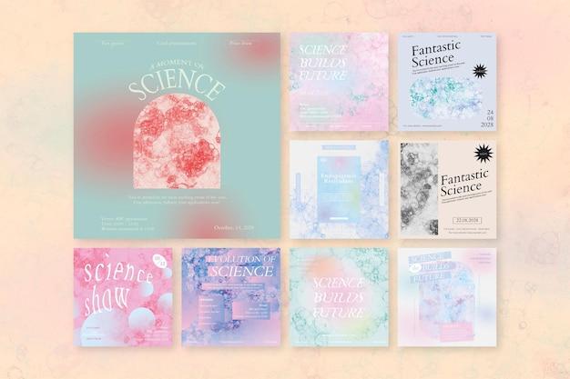 Bubble art science szablon wydarzenie psd estetyczny zestaw reklam w mediach społecznościowych