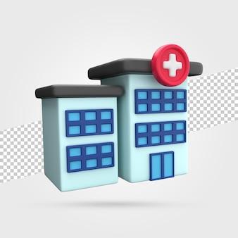 Budynek szpitala renderowania 3d