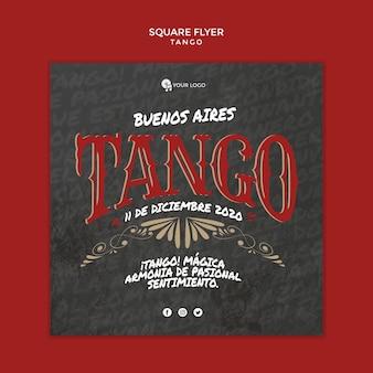 Buenos aires tango kwadratowy szablon ulotki