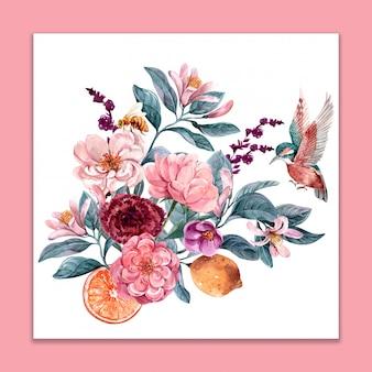 Bukiet kwiatów i ptaków