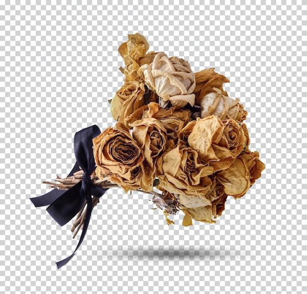 Bukiet suszonych róż na białym tle premium psd