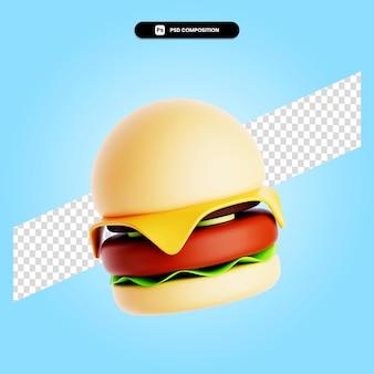Burger 3d render ilustracja na białym tle
