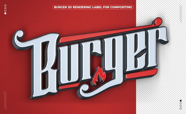 Burger czerwone słowo renderowania 3d na białym tle