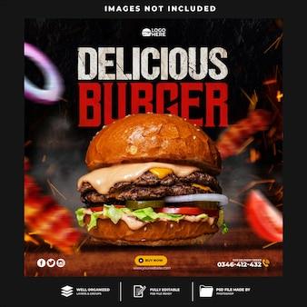 Burger flyer post w mediach społecznościowych i szablon banera internetowego