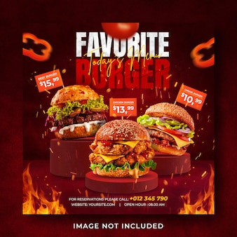 Burger food menu promocja social media instagram post banner szablon