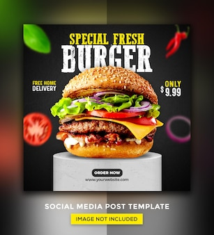 Burger food menu promocja szablon projektu postów w mediach społecznościowych