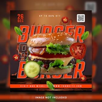 Burger instagram i szablon postu w mediach społecznościowych