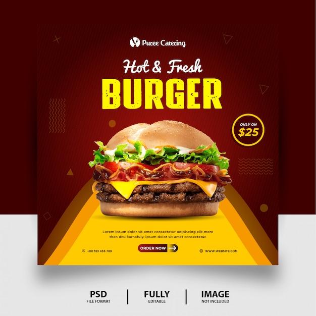 Burger menu promocja żywności social media post banner