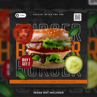Burger post w mediach społecznościowych lub szablon banera
