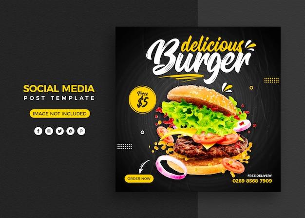 Burger promocja w mediach społecznościowych i szablon projektu banera na instagramie