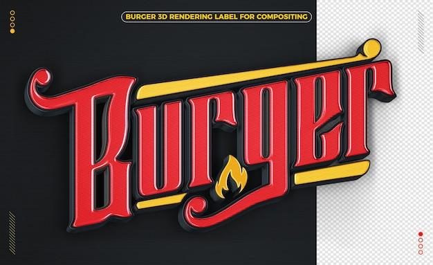 Burger słowo czarno-żółty renderowanie 3d na białym tle