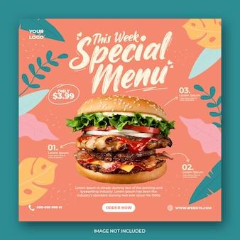 Burger specjalne menu promocyjne social media instagram post banner szablon