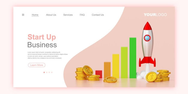 Business start up concept banner internetowy szablon strony docelowej ilustracja 3d