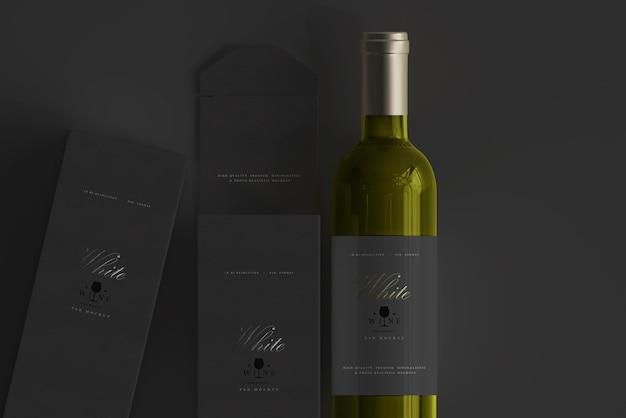 Butelka białego wina z makietą pudełka