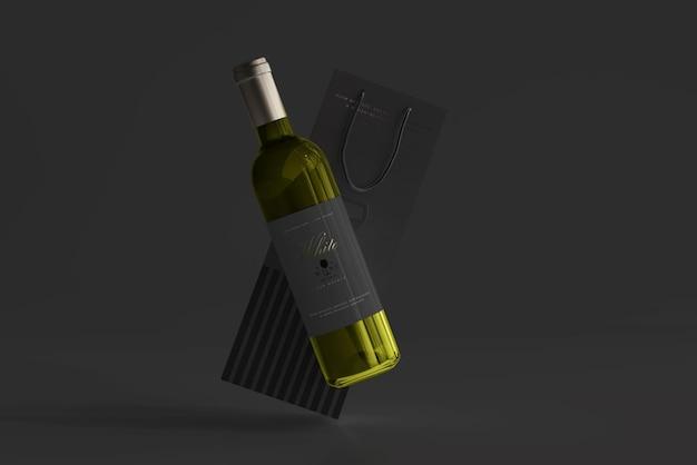 Butelka białego wina z makietą torby