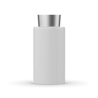 Butelka kosmetyczna z makietą nakrętki na białym tle