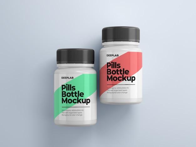 Butelka na pigułki z edytowalnym wzorem makiety psd